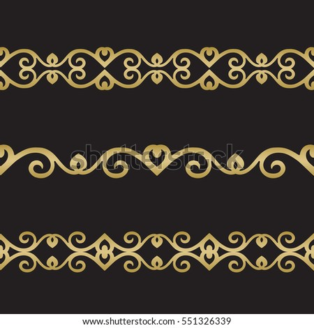 Seamless floral tiling border. Inspired by old ottoman and arabian ornaments. Gold color on black background #551326339