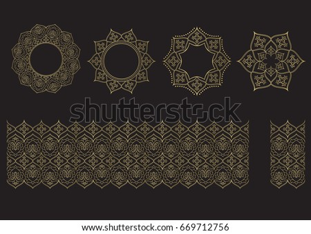 Seamless floral tiling borders and frames in gold color. Inspired by old ottoman and arabian ornaments