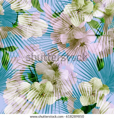 Seamless floral tropical pattern with palm leaves, jungle leaf and flowers branch, vector illustration. Summer botanical background