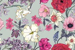 Seamless  floral vector pattern with flowers . Flower background. Field of flowers.