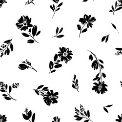Seamless floral vector pattern with peonies, camomile or daisy. Hand drawn black paint illustration with abstract floral motif. Graphic hand drawn brush stroke botanical pattern. Leaves and blooms.