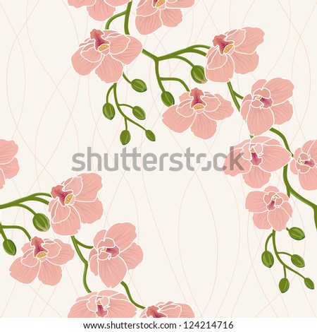 Seamless floral wallpaper with branch of orchid flowers - stock vector
