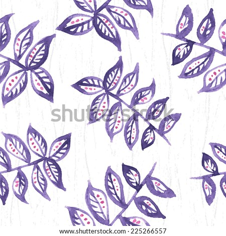 Seamless floral watercolor pattern. Branch with leaves. Seamless pattern can be used for wallpaper, pattern fills, web page background, surface textures.