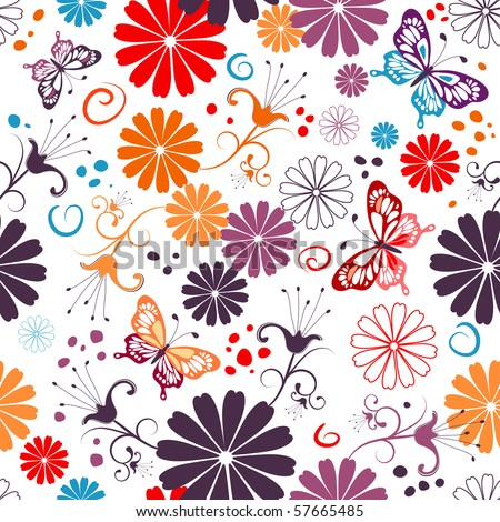 Seamless floral white pattern with flowers and butterflies (vector)
