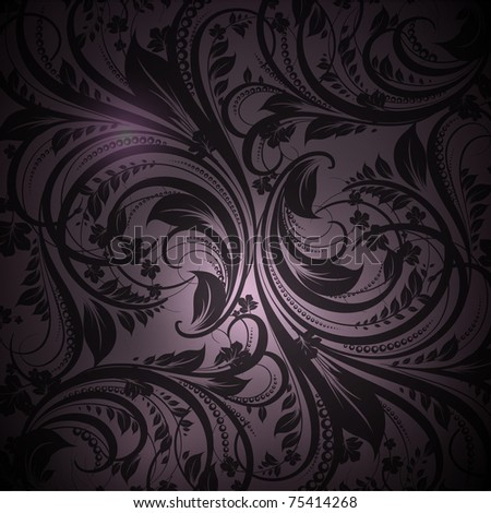 Seamless floral with flowers wallpaper pattern, black