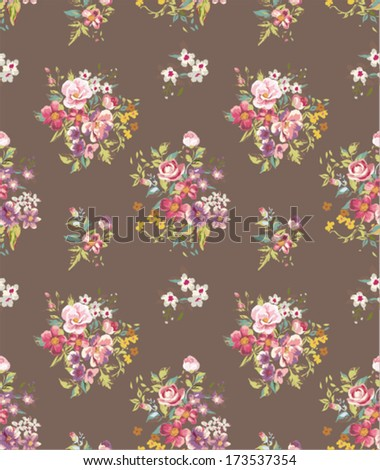 seamless floras vector pattern brown  background