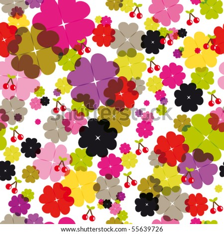 Seamless flower and cherry background pattern in vector