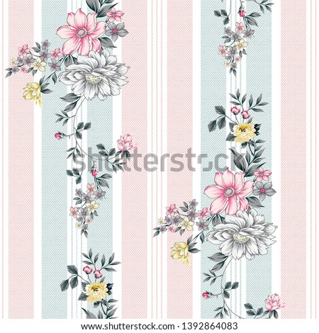 seamless flower and stripes pattern