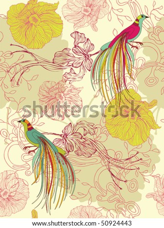 Seamless flower background. Easy to edit vector image. Ready to use as swatch. - stock vector
