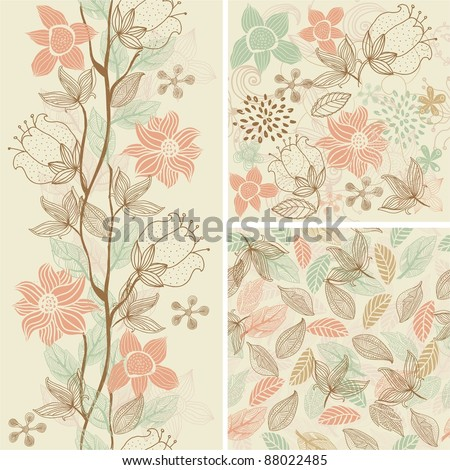 seamless flower background set
