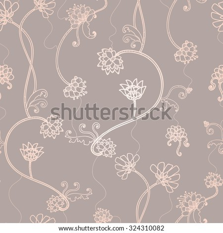 Seamless flower, floral, abstract hand-drawn pattern.  - stock vector