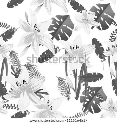 Seamless flower garder liliya pattern. Botany flora decoration. Vector drawing.