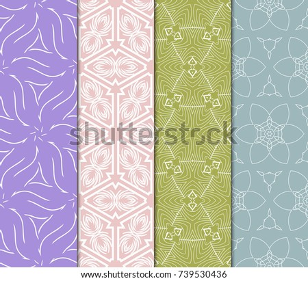 Seamless Flower Lace pattern set. tribal vector illustration. light pastel color. for fashion design, invitation, background, wallpaper #739530436