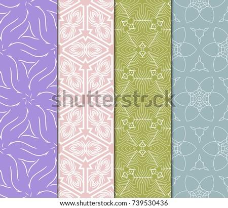 Seamless Flower Lace pattern set. tribal vector illustration. light pastel color. for fashion design, invitation, background, wallpaper #739530436