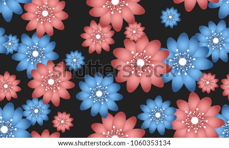 Seamless Flower Pattern Beautiful Spring Background In Hipster Style Vector Snowdrops Or Daisies