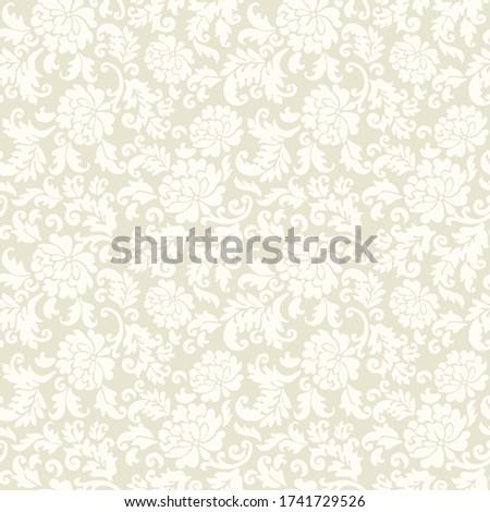 Seamless flower pattern in barroco style, vector beige background Foto stock ©