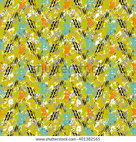 Seamless flower pattern with blue, black, orange and white elements on yellow background #401382565