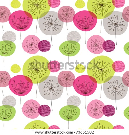 seamless flower pink green