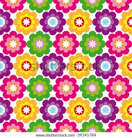 Seamless flower retro pattern in vector