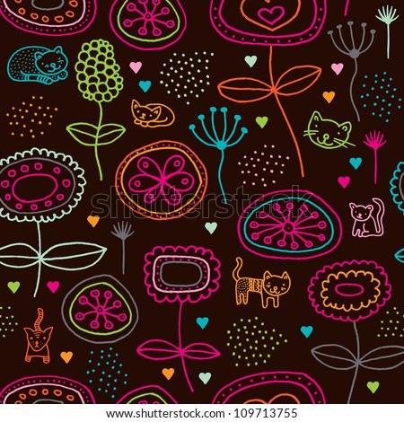 Seamless flowers and cats retro kids background pattern in vector