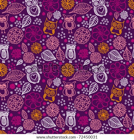 Seamless flowers and owl pattern background in vector