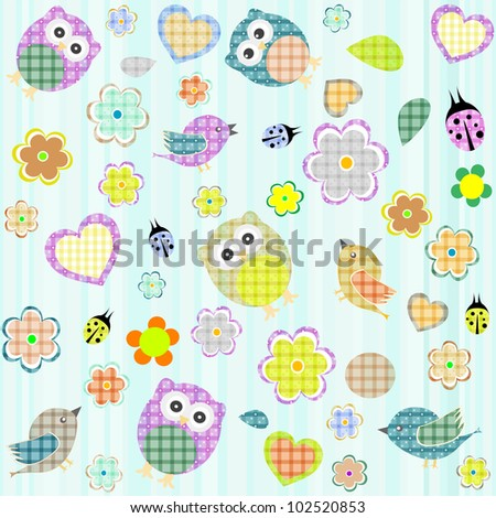 Seamless flowers and owl pattern. vector background