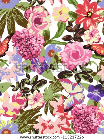 seamless flowers,floral ,vintage pattern,tropical flower,flowers background