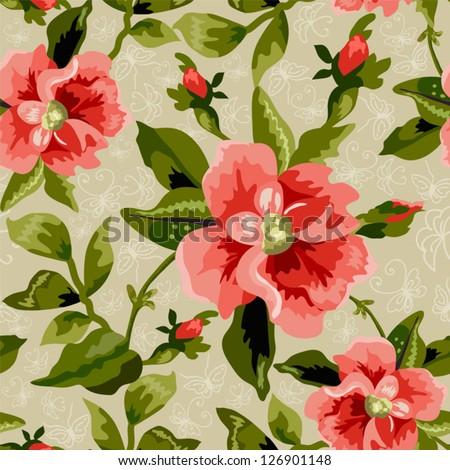 Seamless flowers pattern on beige  background