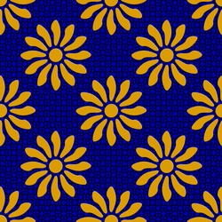Seamless Flowers Pattern. Vector Background in blue and yellow tones