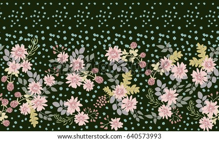 Seamless folk border in small wild flowers. Liberty style millefleurs. Floral meadow background for textile, wallpaper, covers, surface, print, gift wrap, scrapbooking, decoupage. Rustic chic