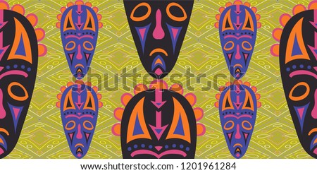Seamless Folk Pattern. Ethnic Seamless Background with Color Trible Shamanic Masks for Calico, Print, Textile. Retro Folk