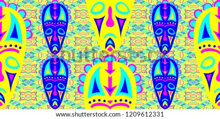 Seamless Folk Pattern. Ethnic Seamless Background with Color Trible Shamanic Masks for Print, Cloth, Fabric. Trendy Folk
