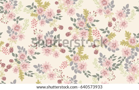 Seamless Folk Pattern In Small Wild Flowers Liberty Style Millefleurs Floral Meadow Background For