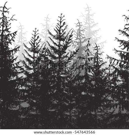 seamless forest border vector