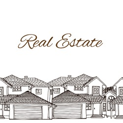Seamless frame with hand drawn buildings (cottage, country houses) in brown and white. Vector illustration