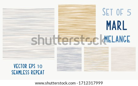 Seamless french blue grey variegated marl heather texture background. Woven cotton textile. Blotched striped bedding fabric. Vector soft linen pattern style.  Mottled melange space dye textile set