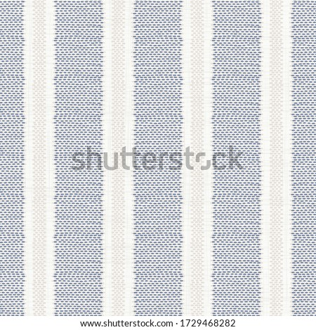 Seamless french farmhouse stripe pattern. Provence blue white linen woven texture. Shabby chic style weave stitch background. Doodle line country kitchen decor wallpaper. Textile rustic all over print Stockfoto ©