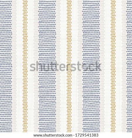 Seamless french farmhouse stripe pattern. Provence blue white linen woven texture. Shabby chic style weave stitch background. Doodle line country kitchen decor wallpaper. Textile rustic all over print