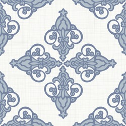 Seamless french fleur de lis medallion pattern . Linen shabby chic style. Hand drawn damask texture. Antique blue  background. Farmhouse country home decor swatch. Ornate flourish all over print