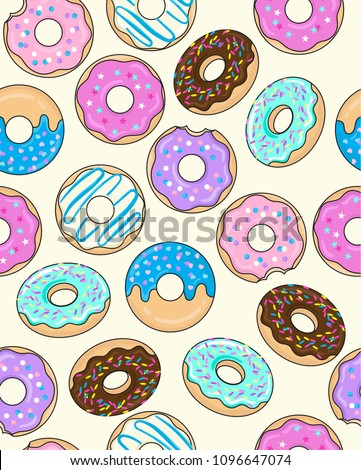 Seamless Frosted Donut Pattern with Sprinkles