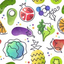Seamless fruit and vegetables vegetarian food pattern, vector vegan bright color background.