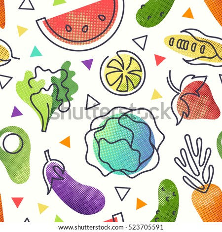 Seamless fruit and vegetables vegetarian food pattern, vector vegan bright color background