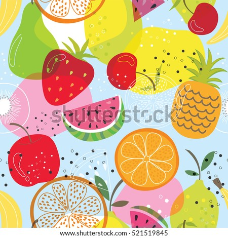 seamless fruit pattern with