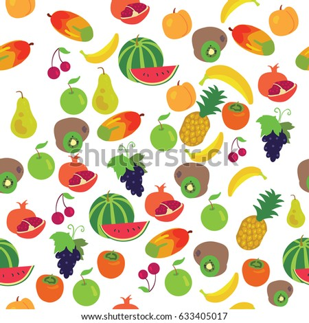 Seamless fruits pattern on white background. Vector illustration