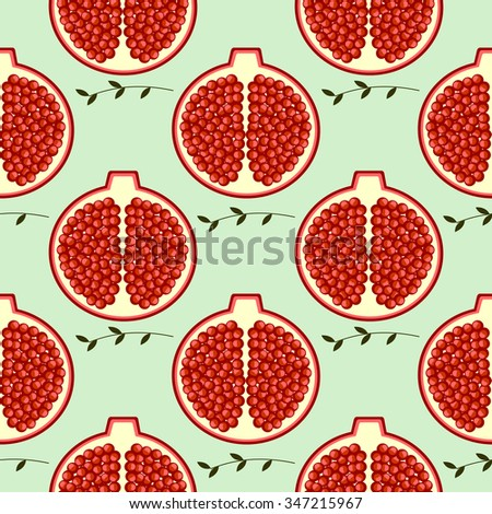 Seamless fruits vector pattern, bright color background with pomegranates and branches with leaves, over light backdrop - stock vector