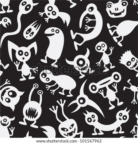 Seamless funny black and white monsters.