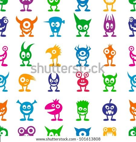 Seamless funny colorful monsters.