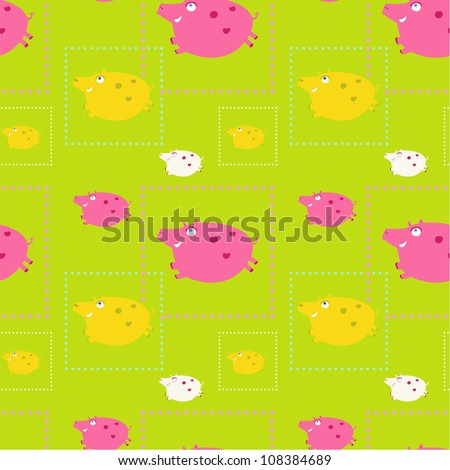 seamless funny pattern with funny pigs