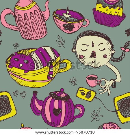 Seamless funny tea time pattern in cartoon style