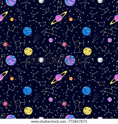 seamless galaxy pattern with